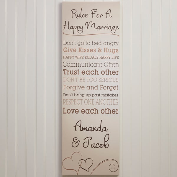 Personalized Canvas Art - Rules for A Happy Marriage - 12522