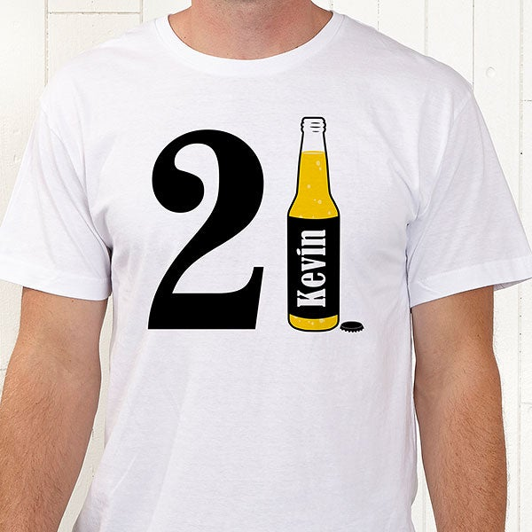 ea921cfa Personalized 21st Birthday Apparel - 21st Birthday Beer - 12586. White T- Shirt ...