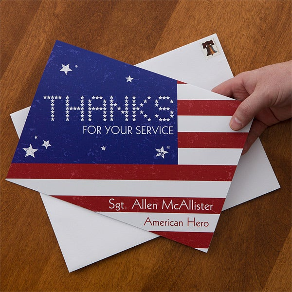 Patriotic Personalized Greeting Cards - American Flag - 12618