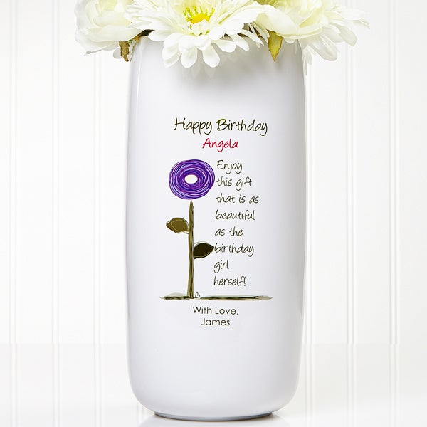 225 & Birthday Blooms Personalized Ceramic Vase