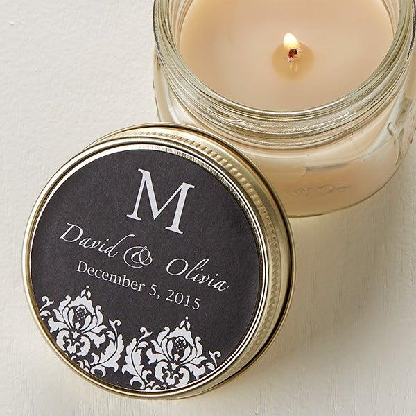 Personalized Candle Tin Favors - Damask Monogram - 12689