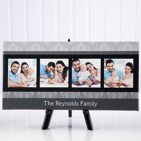 Personalized Photo Canvas Art - Damask Photo Message - 12745