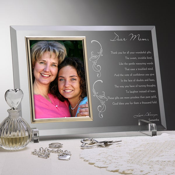 Personalized Glass Picture Frame Engraved for Mom