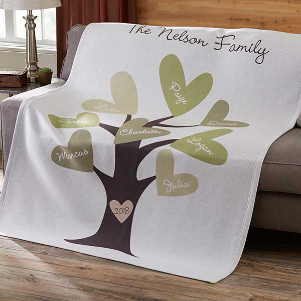 Personalized Family Throw Blanket - Leaves of Love  - 12871