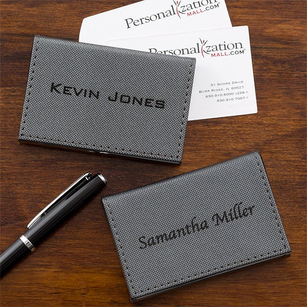 a1b7d3498df4 Personalized Business Card Cases - Grey - 12879