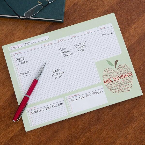 Personalized Teacher's Weekly Desk Calendar - 12928