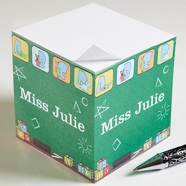 Personalized Note Pad Cube for Teachers - Little Learners - 12936