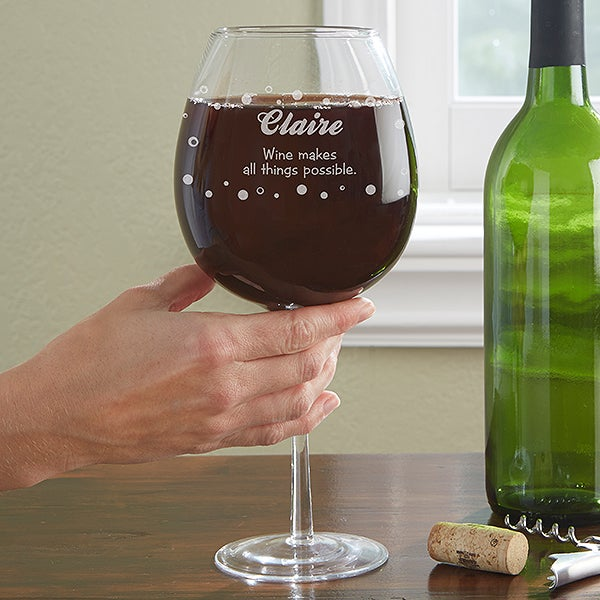 Personalized Whole Bottle Wine Glass - Big Vino - 12955