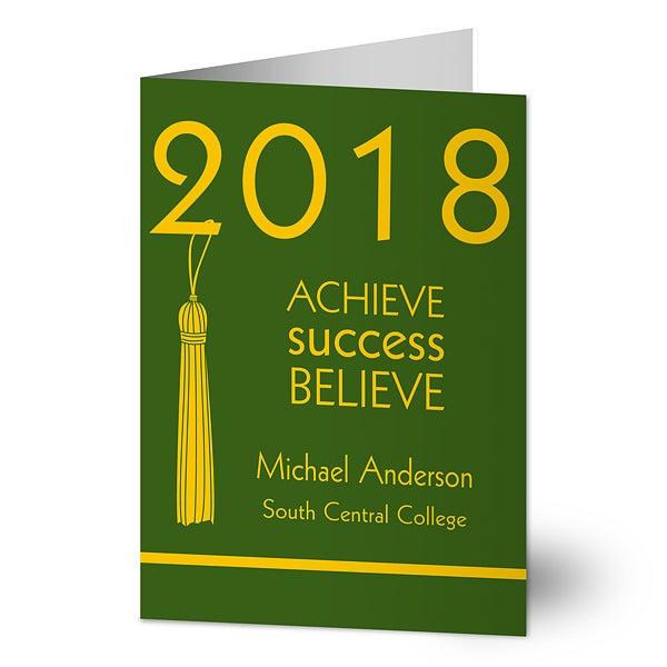 Personalized Graduation Greeting Cards - Achieve, Success, Believe - 12956