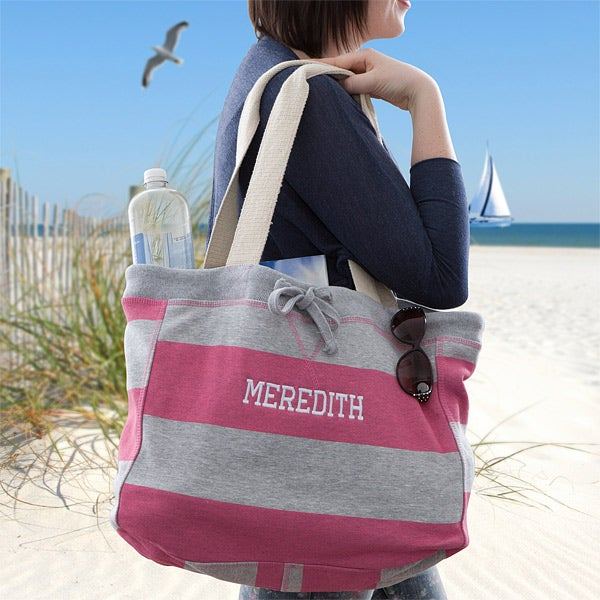 Personalized Beachcomber Bags - Pink & Grey Stripes - 13009