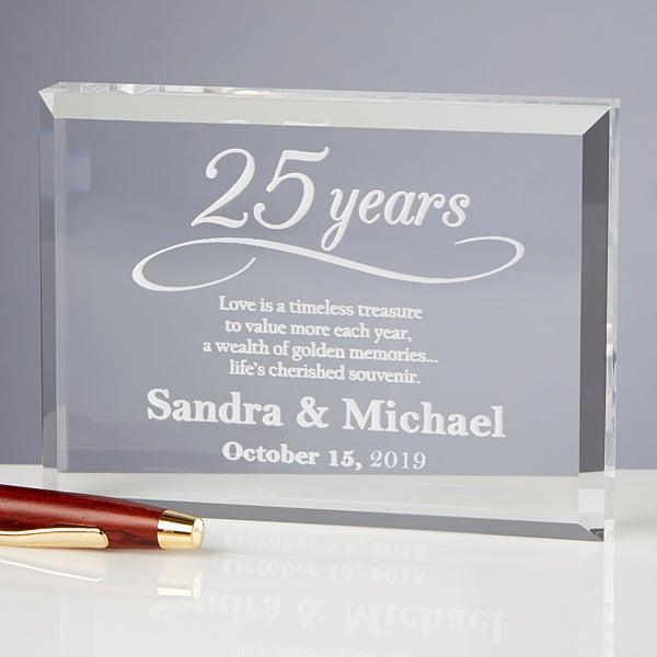 Personalized Anniversary Glass Keepsake Gift - 13025