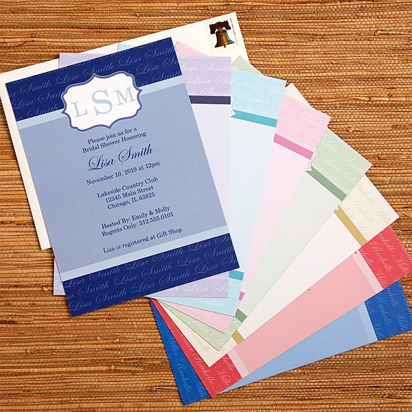 personalized bridal shower invitations wedding monogram 13044