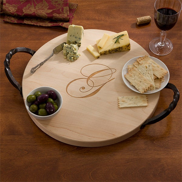 Personalized Round Serving Tray - Maple,Personalized Round Serving Tray - Maple - 13079D