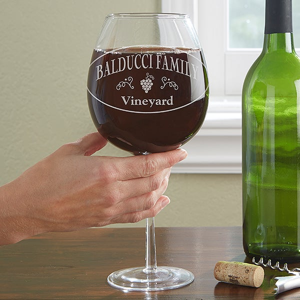 Personalized Full Bottle Wine Glass - Family Winery - 13082