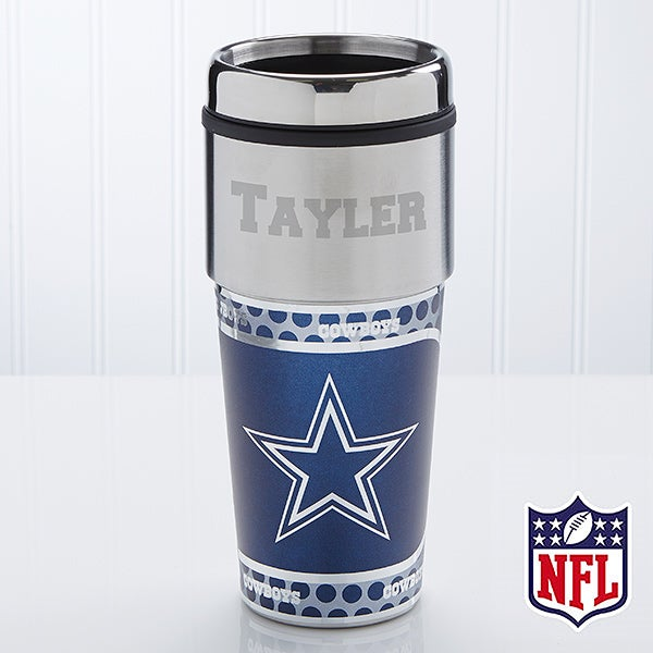 Personalized Dallas Cowboys NFL Football Travel Mug - 13122