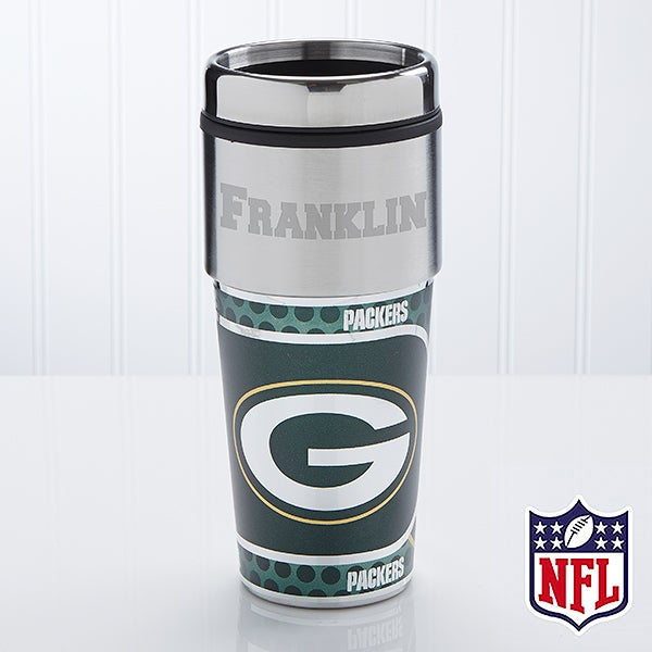 Green Bay Packers Personalized NFL Football Travel Mugs - 13129