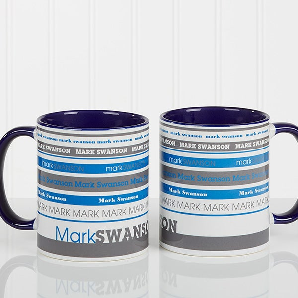 Personalized Coffee Mugs - Signature Stripe - 13148