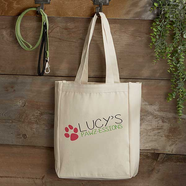 Personalized Dog Canvas Tote Bag Small