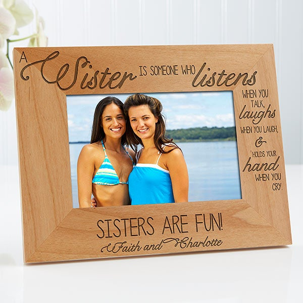 Birthday Gift Sister Best Sister Ever Engraved Natural Wood Frame