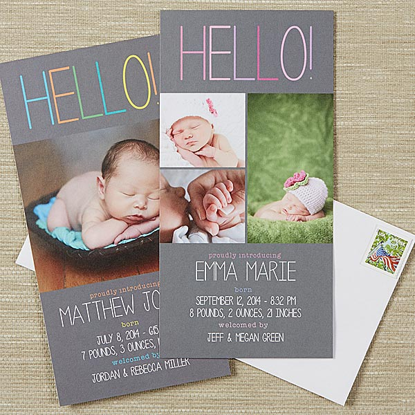 Personalized Photo Postcard Baby Announcements - Hello Baby - 13431