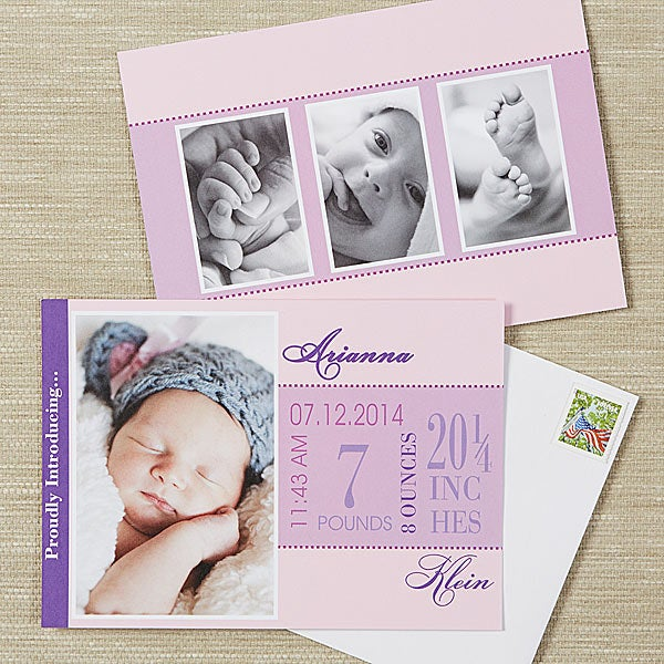 Photo Birth Announcements - Baby Girl's Big Day - 13499