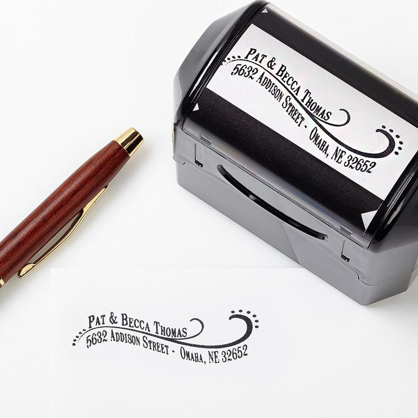 Personalized Return Address Stamp - Lovely Swirls - 13528
