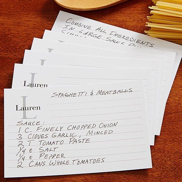 Personalized Recipe Cards - Classic Monogram - 13546