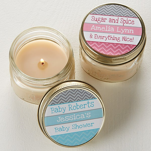 Personalized Baby Shower Favors Chevron Candles