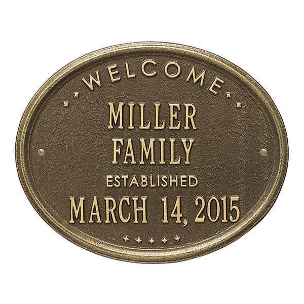 Personalized Welcome House Plaque - Oval Metal Design - 1356D