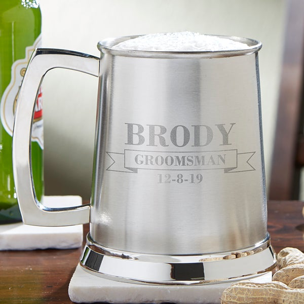 Personalized Wedding Party Beer Tankard for Groomsmen - 13597