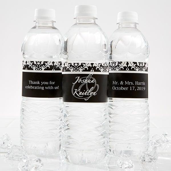 Personalized Damask Wedding Water Bottle Labels - 13609