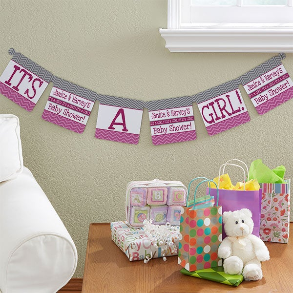 13715 Chevron Baby Shower Personalized Paper Banner