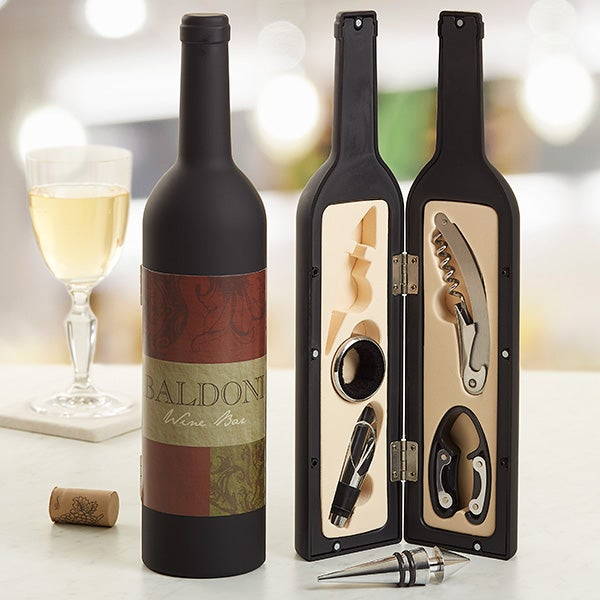 Personalized Wine Accesory Gift Set - Fleurish Wine Bottle - 13717