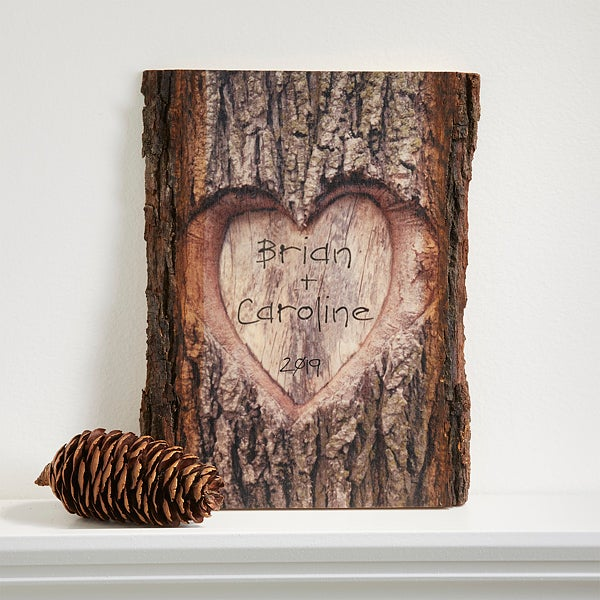 Personalized Romantic Wall Plaque - Carved Heart - 13760