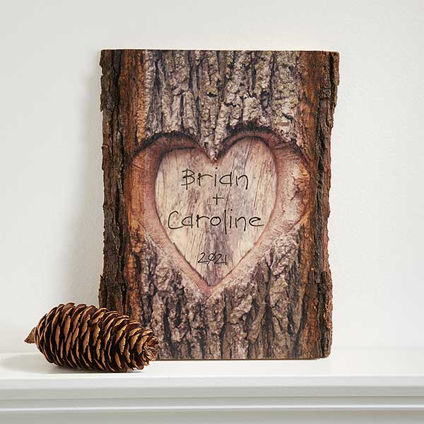 Personalized Romantic Wall Plaque Carved Heart