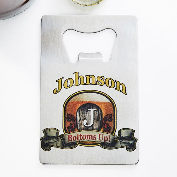 Personalized Credit Card Bottle Opener - Vintage Bar Sign - 13788