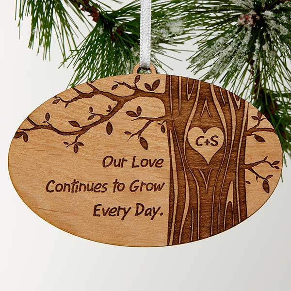 Personalized Couples Christmas Ornaments Initials Carved In Love