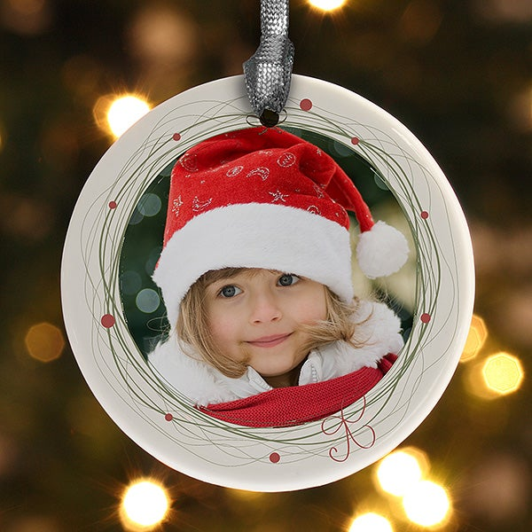 13839 holiday wreath personalized photo ornament for Personalized christmas photo ornaments