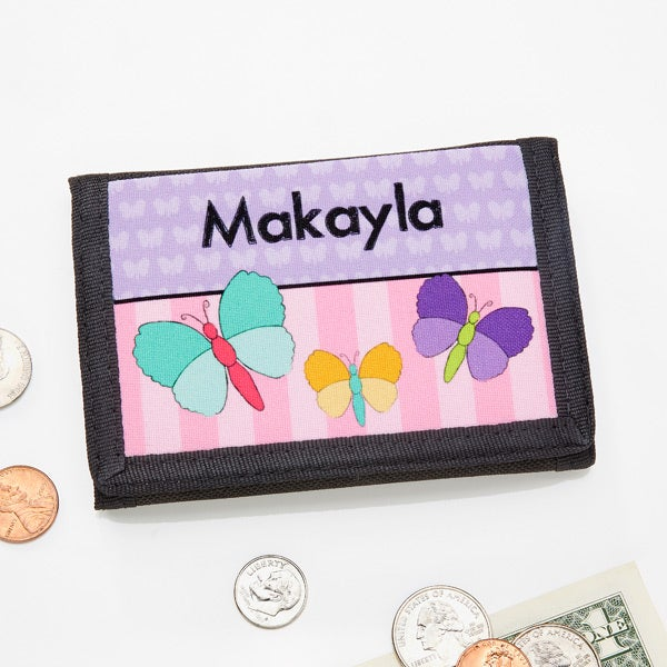 Personalized Girls Wallets - Flowers, Butterflies, Ladybugs & Cupcakes - 13845