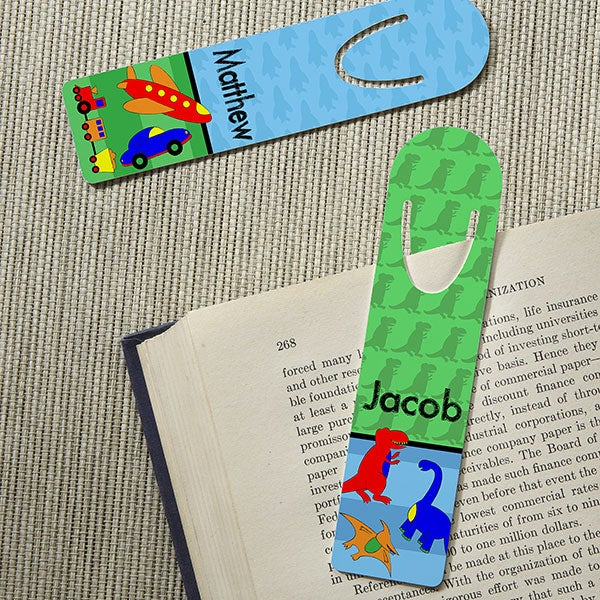Personalized Bookmarks For Boys - Cars, Dinosaurs, Robots, Sports - 13846