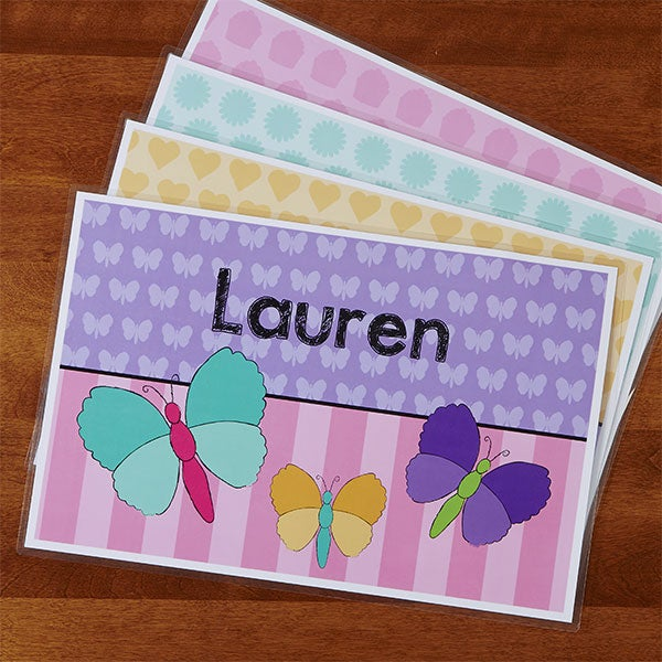Personalized Placemats for Girls - Flowers, Ladybugs, Butterflies & Cupcakes - 13849