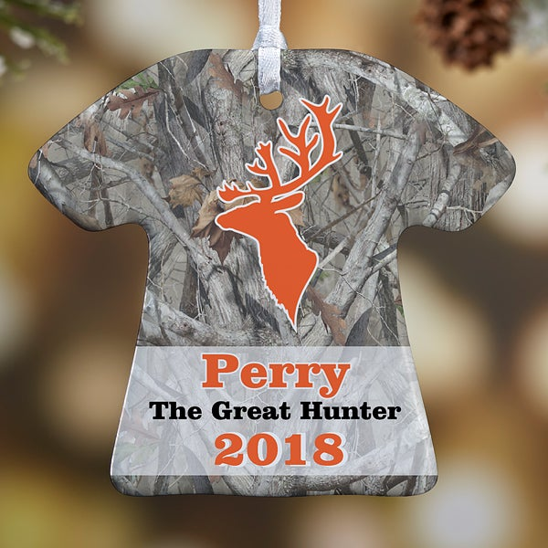 Personalized Christmas Ornaments - Deer Hunter T-Shirt - 13860