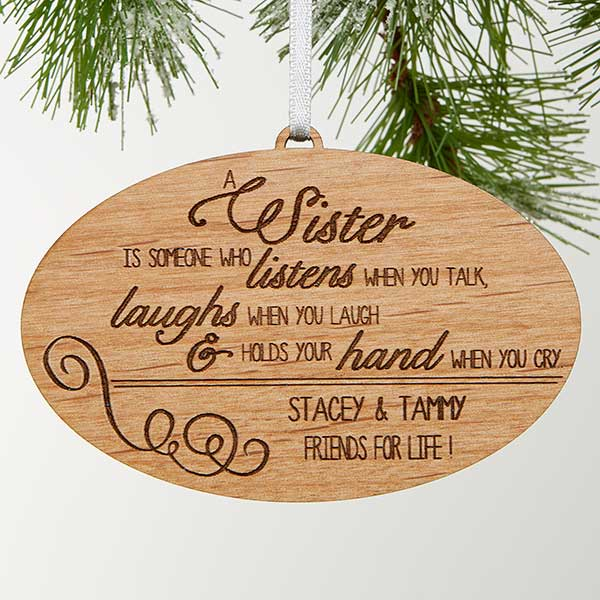 Special Christmas Ornaments.Special Sister Natural Wood Ornament