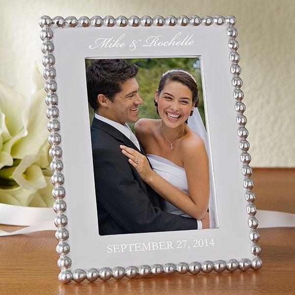 Wedding Photo Frames.Mariposa String Of Pearls Personalized Wedding Photo Frame