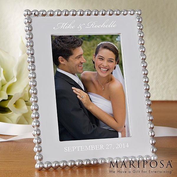 Personalized Wedding Picture Frames - Mariposa String of Pearls - 13944