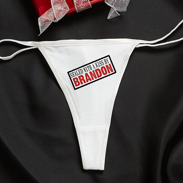 Personalized Thong Underwear - Sealed With A Kiss - 13960