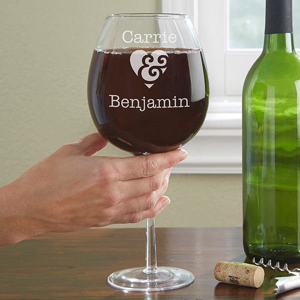 Personalized Full Bottle Wine Glass - Couple In Love - 13987
