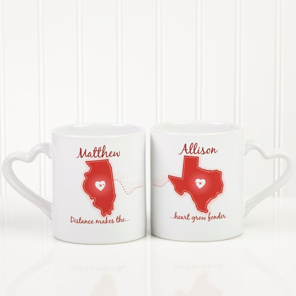 Personalized Coffee Mug Sets - Long Distance Love - 13993