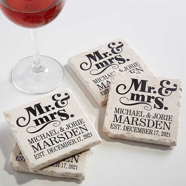 Personalised Mr /& Mrs Wooden Coaster Set New Home Wedding Valentine/'s Gift