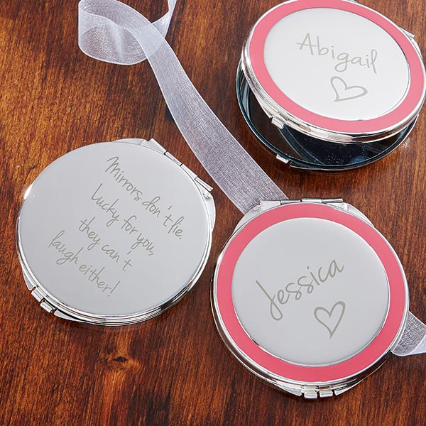 Personalized Silver Compact Mirror - Pink Accent - 14122